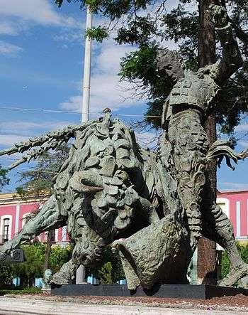 Escultura de Silverio Pérez realizando su pase llamado El Trincheraza Foto: Terra