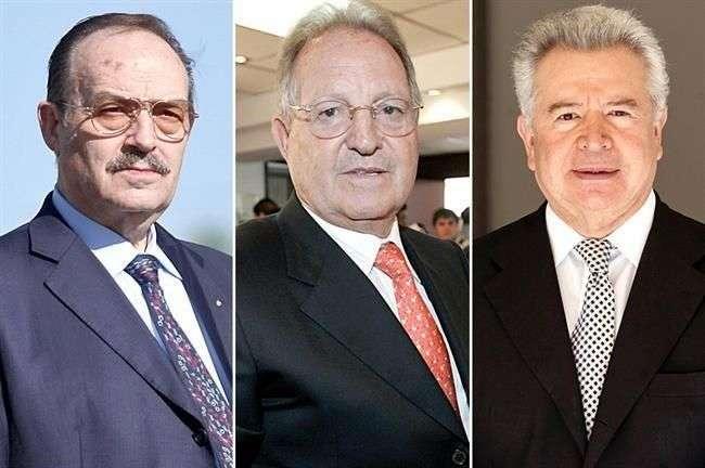 Mario Vázquez Raña, Olegario Vázquez Raña y Francisco Aguirre son los tres empresarios que competirán por las cadenas de TV. Foto: Reforma