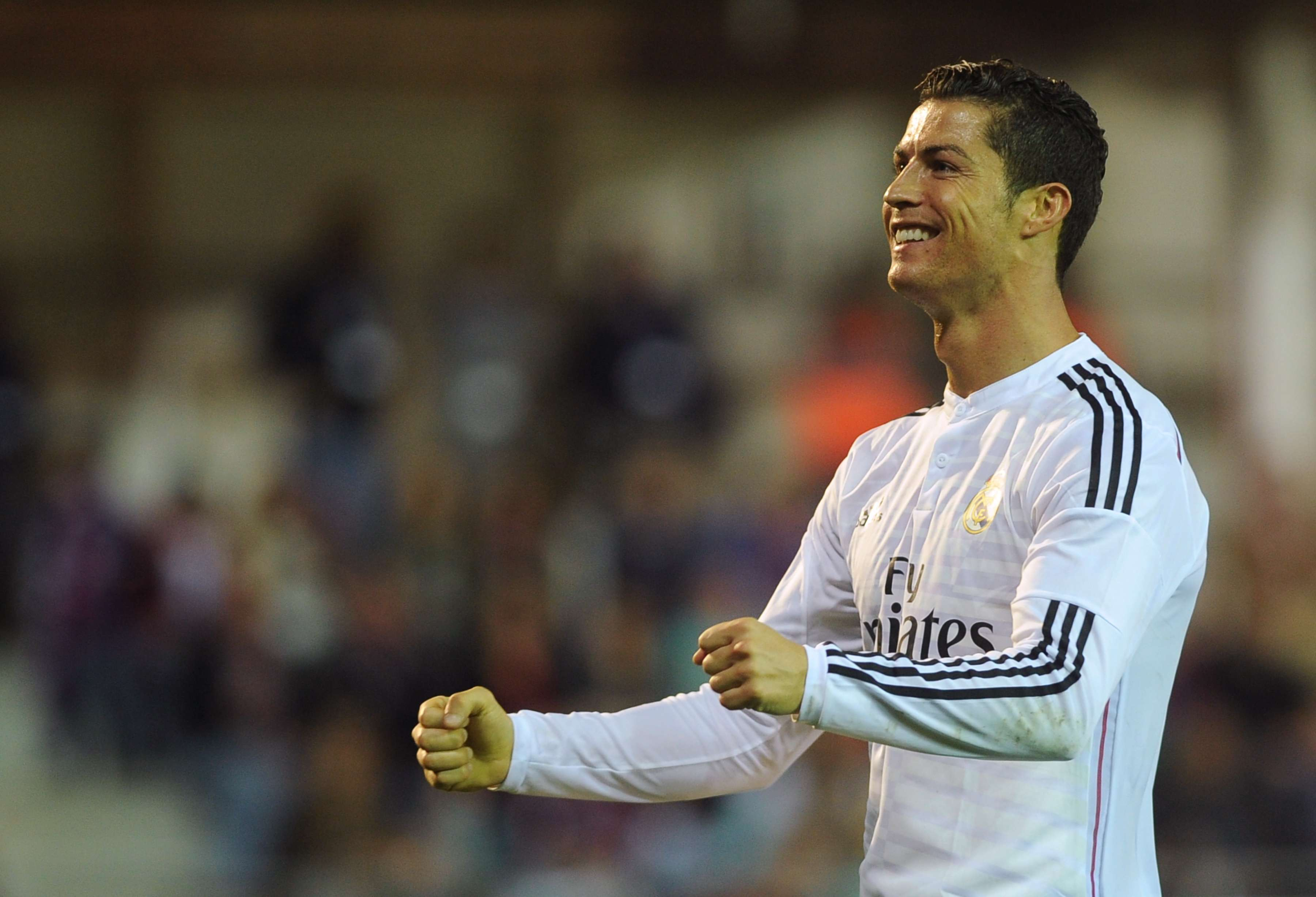 Cristiano Ronaldo vibra com gol em goleada Foto: Rafa Rivas/AFP