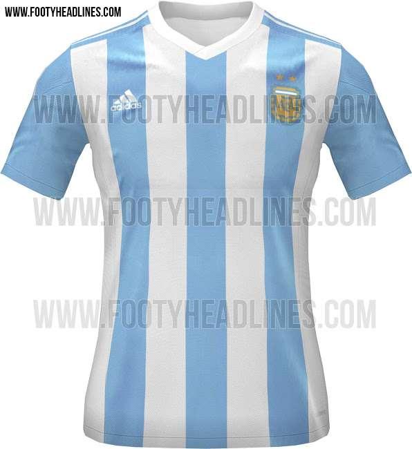 La camiseta Argentina, con sus tradicionales colores celeste y blanco. Foto: Footy Headlines