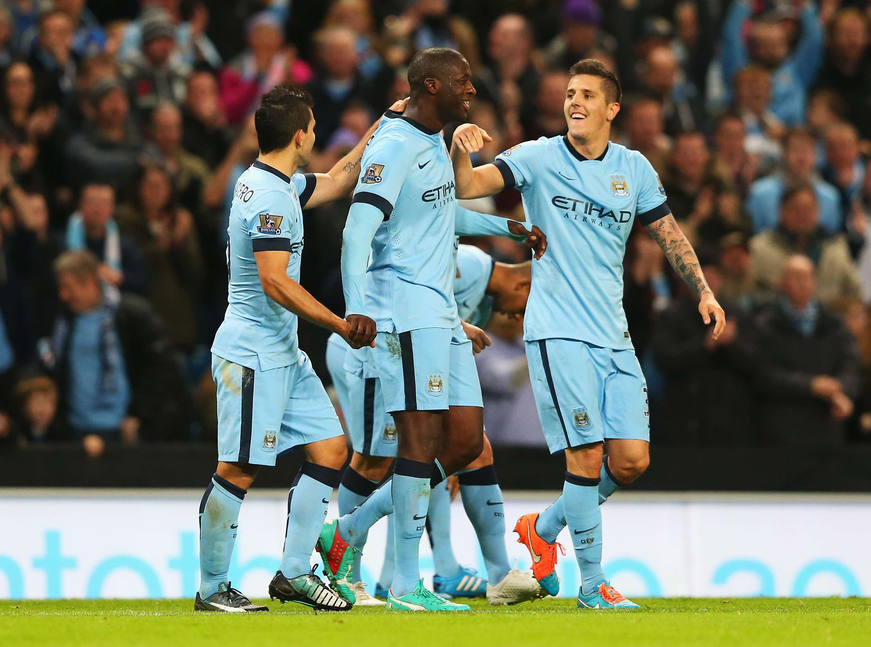City faz festa com gol ante Swansea Foto: Alex Livesey/Getty Images