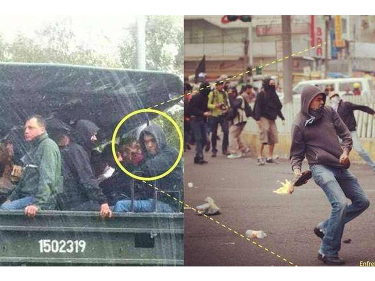 Tras los enfrentamientos de la marcha del #20NovMX, usuarios de redes sociales divulgaron una imagen comparativa de un presunto infiltrado durante las manifestaciones por los 43 normalistas de Ayotzinapa del pasado jueves. Foto: Facebook