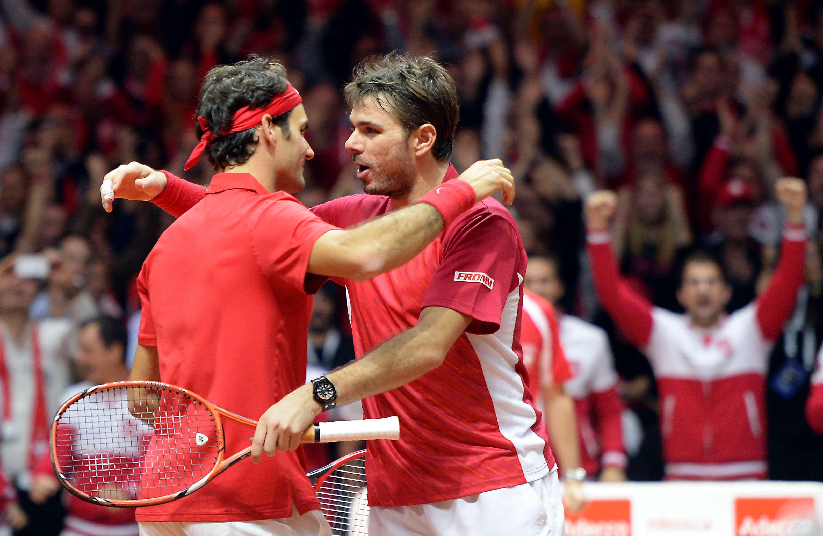 Federer y Wawrinka ganaron el punto de dobles en Copa Davis. Foto: AFP