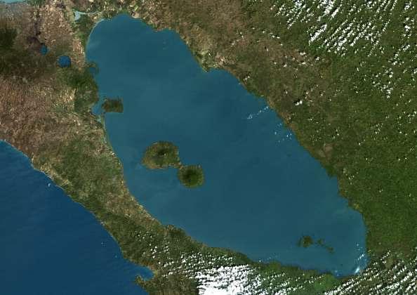 Fotografía satelital del Gran Lago de Nicaragua. Foto: Getty Images