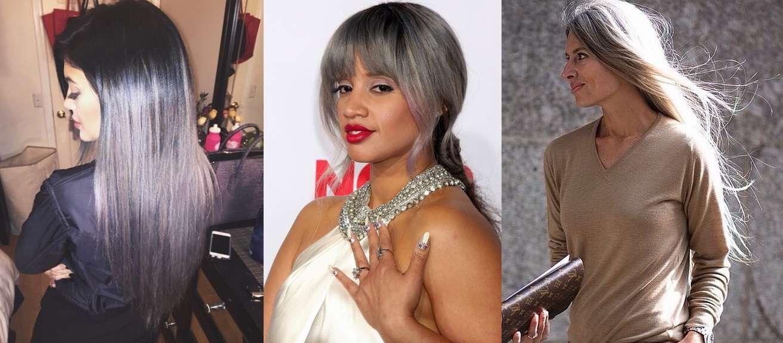 Kylie Jenner, Dascha Polanca e Sarah Harrison investiram em cabelo longo prateado Foto: Instagram/Shutterstock/Instagram