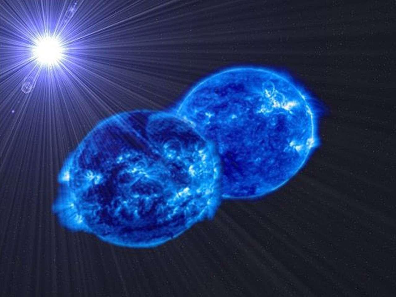 Imagen facilitada por el Instituto de Astrofísica de Canarias (IAC) de dos estrellas que están tan próximas que se fusionarán en una supermasiva, según han observado investigadores de varios centros españoles, con lo que demuestran que las estrellas más masivas se forman por fusión de otras pequeñas, ha informado hoy el IAC. Foto: EFE en español