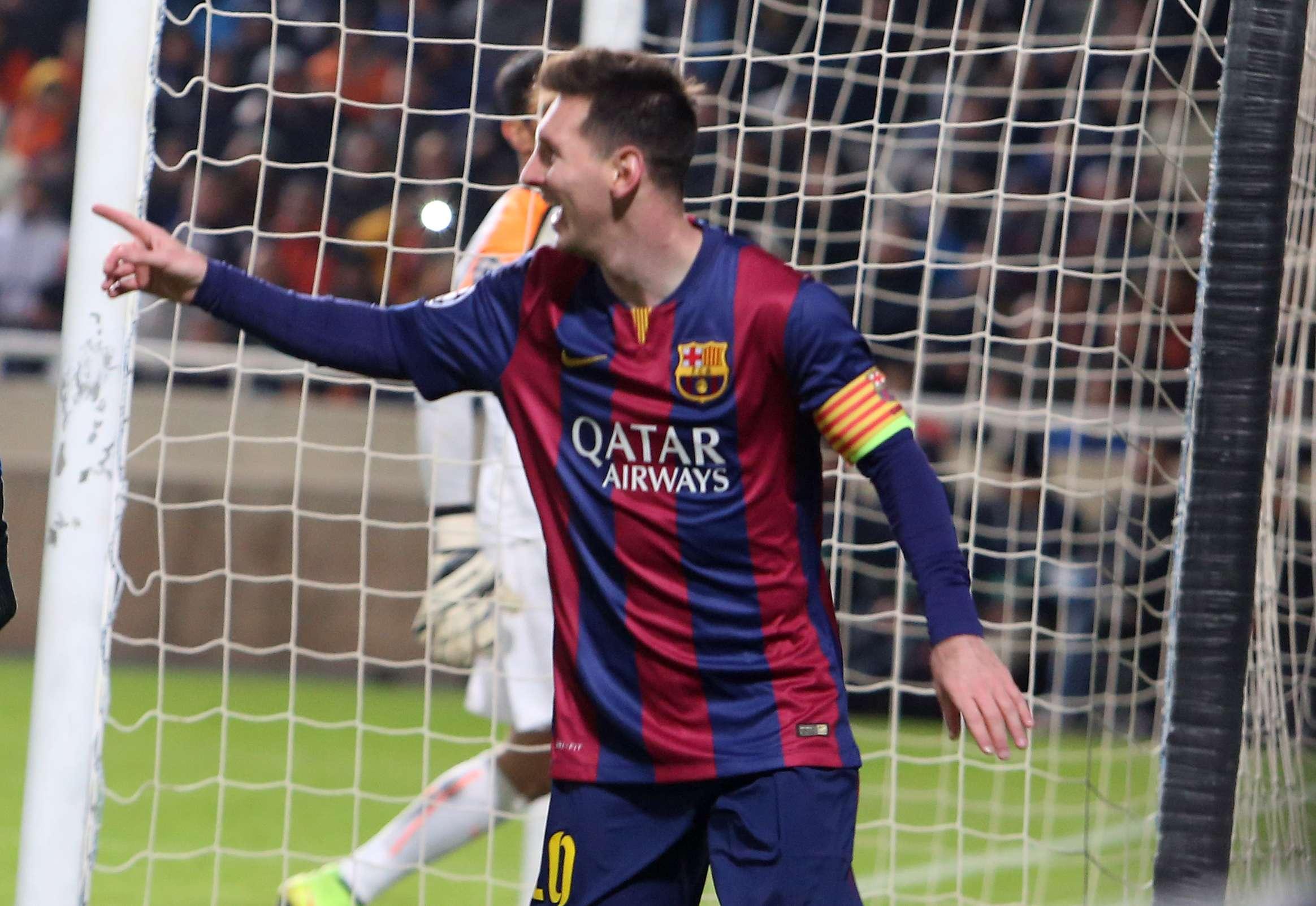 Messi se tornou o maior artilheiro da história da Champions Foto: Philippos Christou/AP