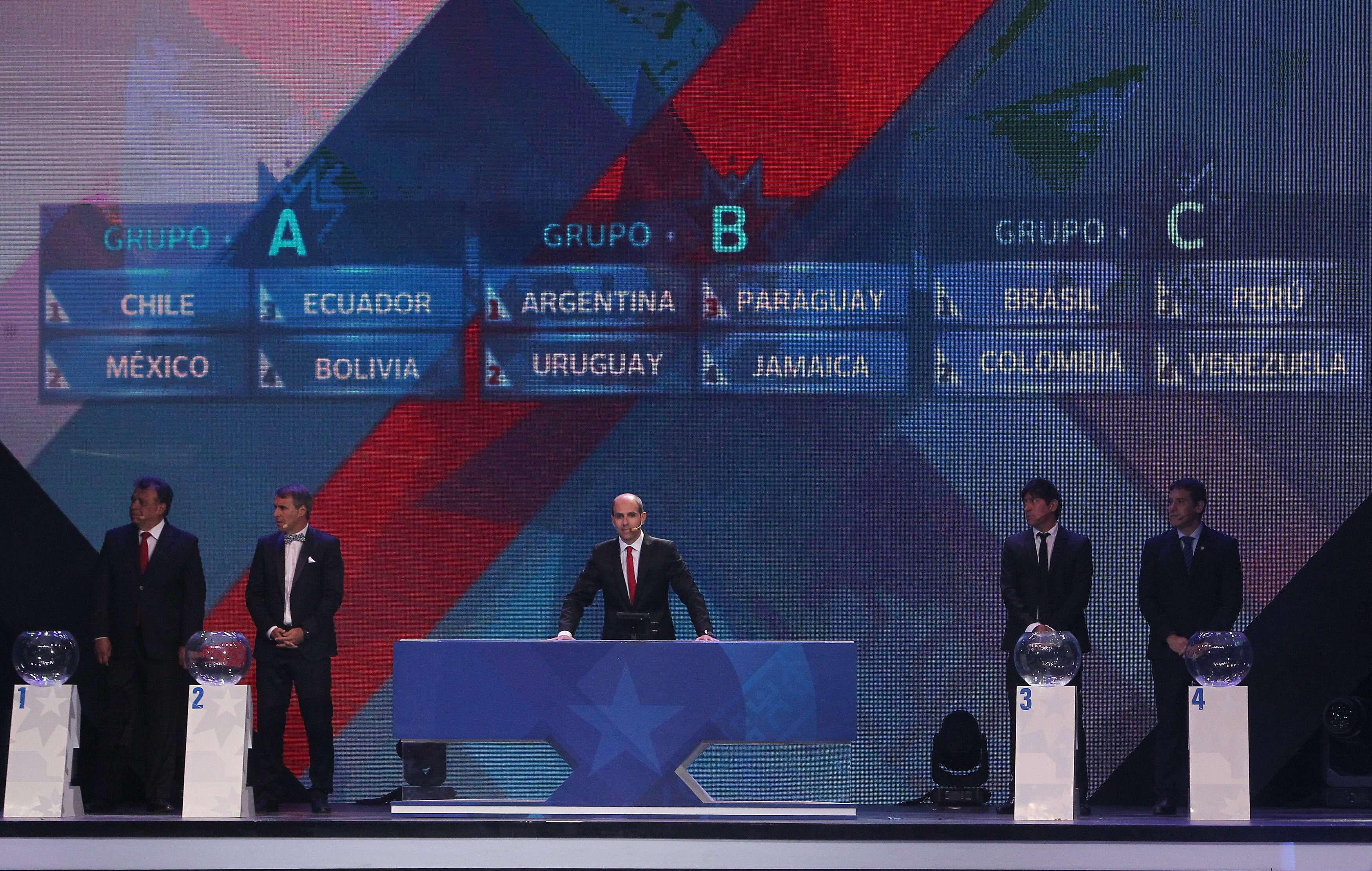 Sorteio da Copa América definiu Brasil x Colômbia e Argentina x Uruguai logo na primeira fase Foto: Mario Ruiz/EFE