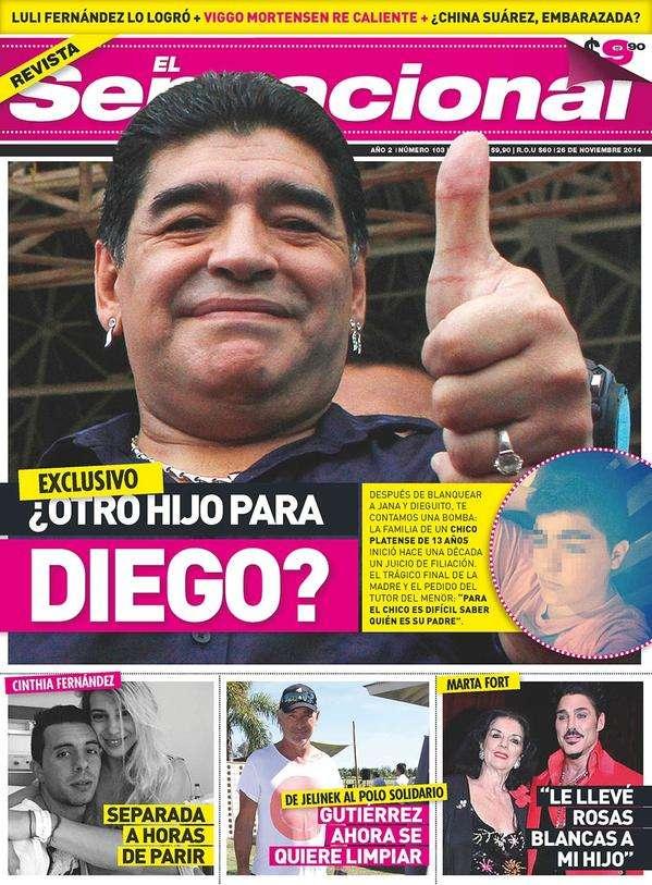 La revista El Sensacional denunció en su tapa la supuesta paternidad de Maradona. Foto: Reproducción tapa El Sensacional