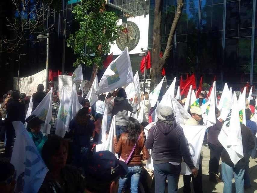 Integrantes de organizaciones campesinas y de sindicatos protestaron durante tres horas frente a la PGR en demanda de la presentación de los 43 normalistas desaparecidos de Ayotzinapa. (Foto: Reforma/Abel Barajas) Foto: Reforma/Abel Barajas
