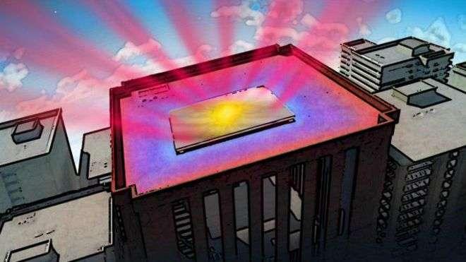 El panel reflector envía el calor directamente hacia el espacio. Foto: BBC Mundo