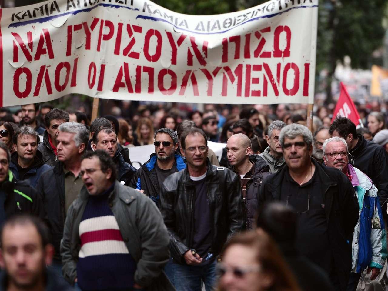 Miles de manifestantes marcharon por el centro de Atenas en el marco de la huelga general Foto: AFP en español