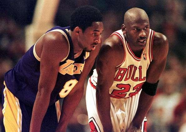 Kobe y Michael juntos como dos gotas de agua. Foto: AFP