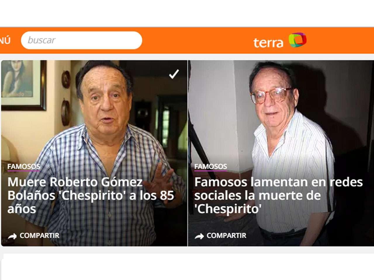 La muerte de Roberto Gómez Bolaños, conocido como 'Chespirito', fue anunciada en Cancún, Quintana Roo, el viernes 28 de noviembre del 2014. El actor, comediante y escritor, nació el 21 de febrero de 1929, se volvió en todo un ícono internacional gracias a sus memorables personajes en shows televisivos como 'El Chapulín Colorado', 'El Chavo del Ocho', 'Chespirito' y películas como 'El Chanfle' y 'El Zángano'. Foto: Tomada del Portal del medio