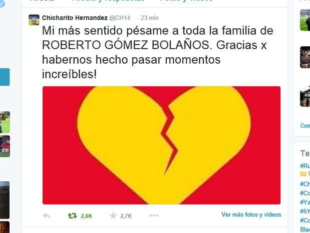 "Desde su twitter Chicharito mostró apoyo Foto: Twitter ""Chicharito"" Hernández"