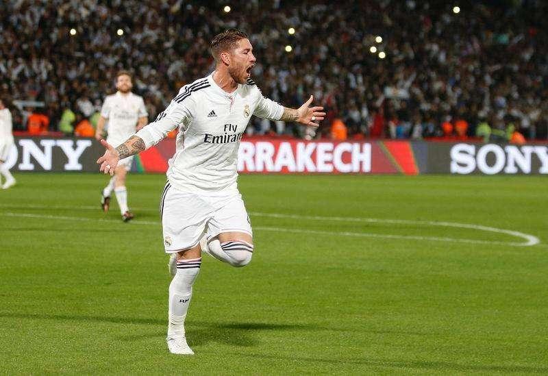 Sergio Ramos, do Real Madrid, comemora gol marcado contra o Cruz Azul pela semifinal do Mundial de Clubes em Marrakech. 16/12/2014 Foto: Youssef Boudlal/Reuters
