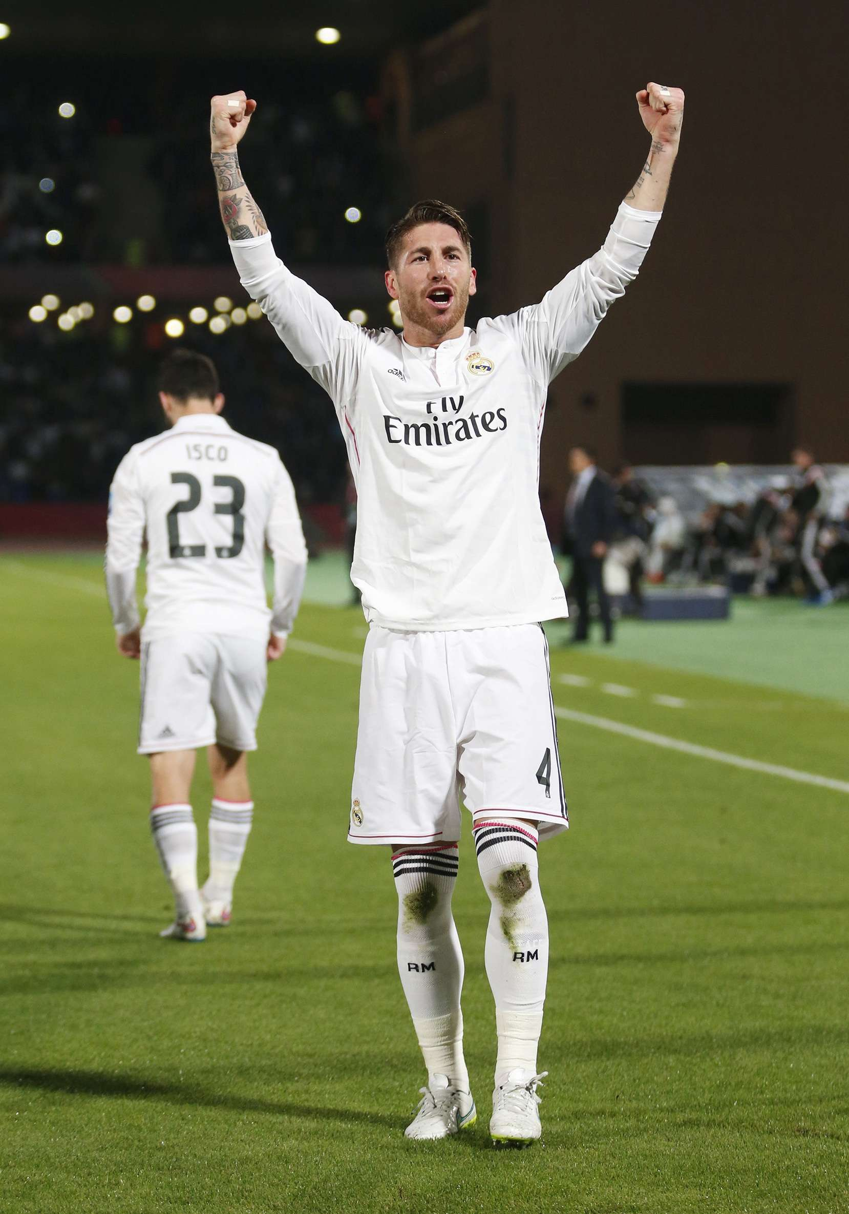 Sergio Ramos of Spain's Real Madrid celebrates after scoring against Mexico's Cruz Azul during their semi-final soccer match in FIFA Club World Cup at Marrakech stadium December 16, 2014. REUTERS/Youssef Boudlal (MOROCCO - Tags: SPORT SOCCER) Foto: YOUSSEF BOUDLAL/REUTERS