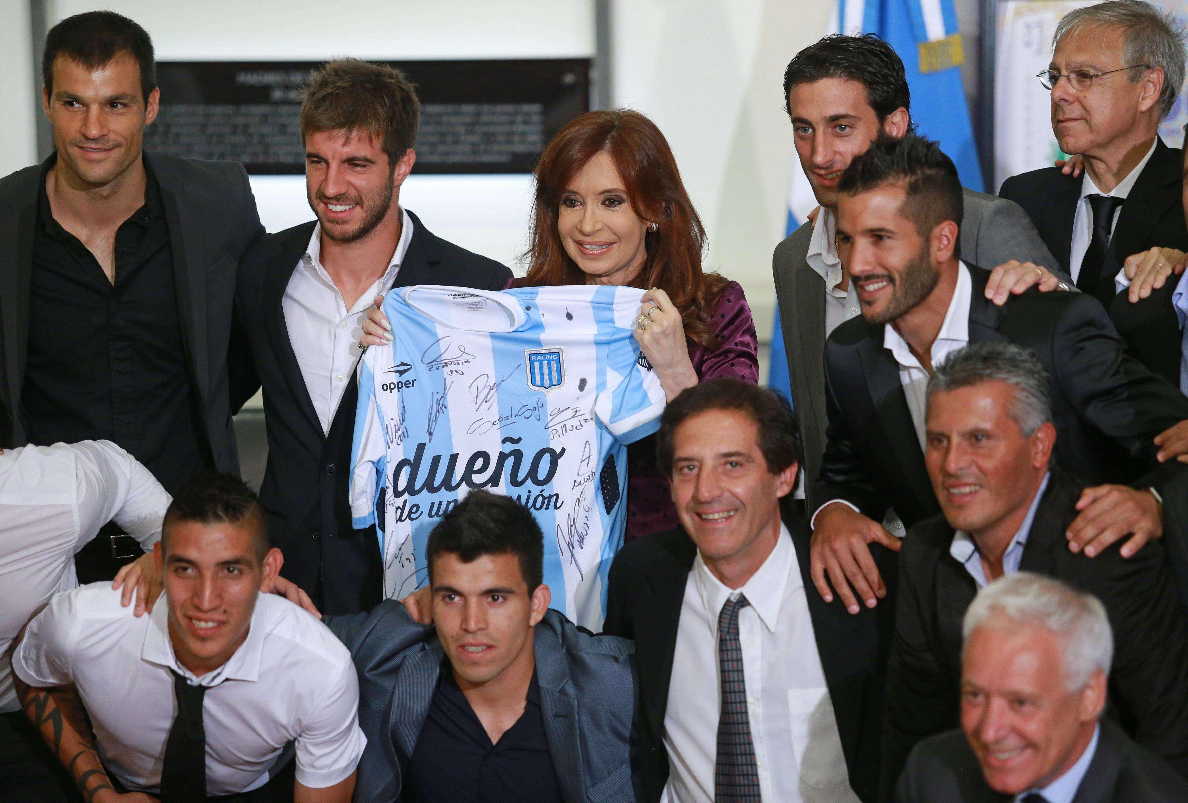 Cristina felicitó a Racing por la obtención del Torneo Transición. Foto: Noticias Argentinas