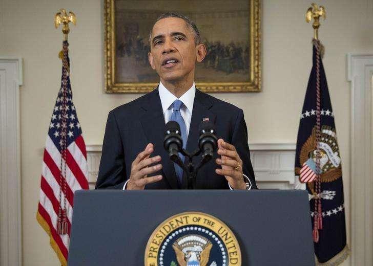 """El presidente de Estados Unidos, Barack Obama, anuncia un cambio de políticas en relación a Cuba desde la Casa Blanca en Washington, 17 diciembre, 2014. El presidente Barack Obama anunció el miércoles cambios con miras a normalizar las relaciones entre Estados Unidos y Cuba y dijo que es tiempo de """"levar las anclas del pasado"""". Foto: Doug Mills/Reuters"""