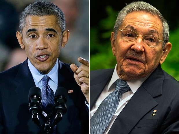 Composición fotográfica de Barack Obama y Raúl Castro, presidentes de EU y Cuba. Foto: AP en español