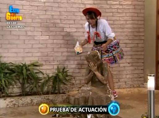 Sheyla Rojas quedó así tras la escena. Foto: Twitter @estoesguerra_tv
