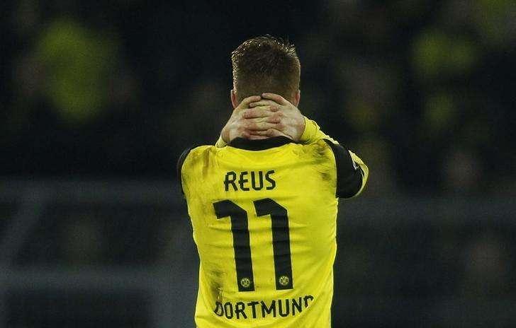 Jogador do Borussia Dortmund Marco Reus reage durante primeira partida contra o Real Madrid pelas quartas de final da Liga dos Campeões da Europa, em Dortmund. 8/10/2014. Foto: Ina Fassbender/Reuters