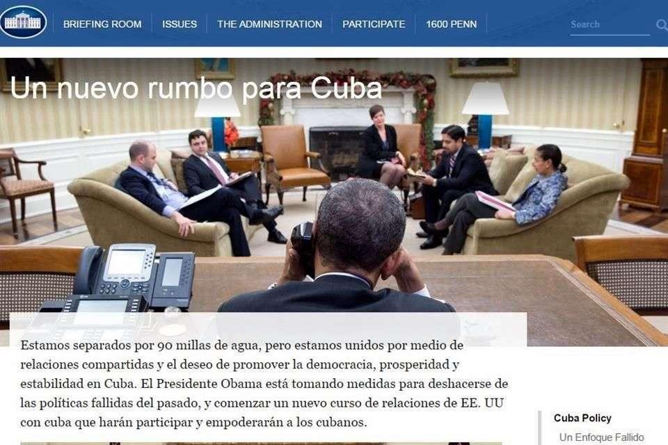La página esquematiza las medidas anunciadas por Obama Foto: Fotografía de la página web de la Casa Blanca