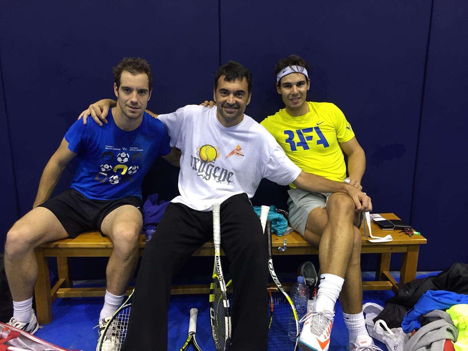 Rafa Nadal junto a Gasquet y su entrenador Bruguera. Foto: Cortesía Facebook Rafa Nadal