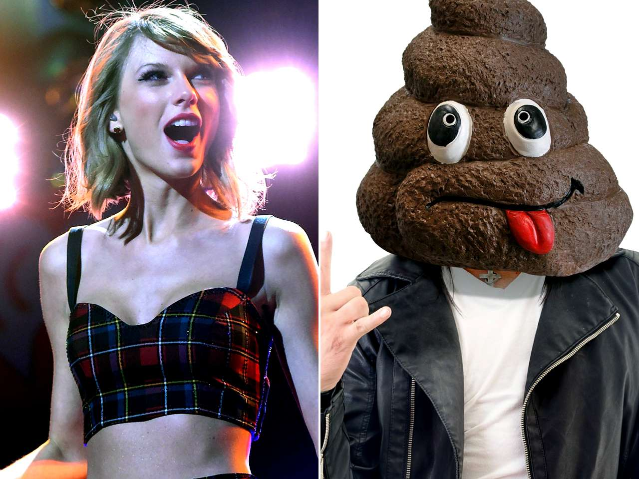Taylor Swift / Máscara de excremento. Foto: Getty Images / Big Mouth Toys