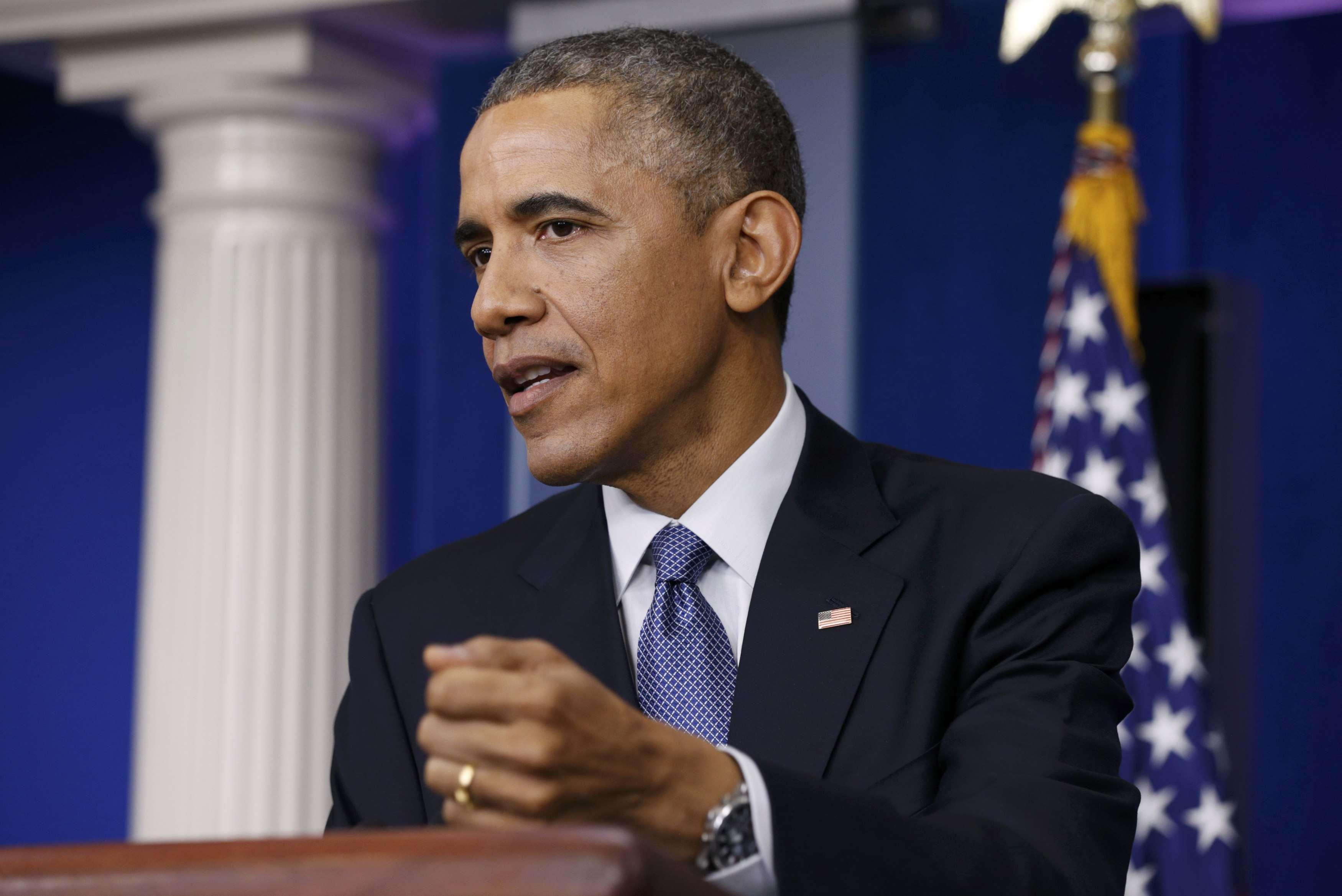 Presidente dos EUA, Barack Obama, responde a uma pergunta sobre o ataque cibernético a Sony Pictures durante sua coletiva de imprensa anual, realizada na Casa Branca, em Washington, em 19 de dezembro Foto: Kevin Lamarque /Reuters