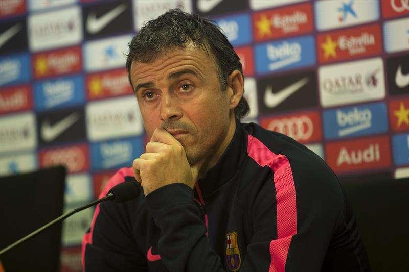 Luis Enrique, técnico del Barcelona, en rueda de prensa. Foto: EFE en español
