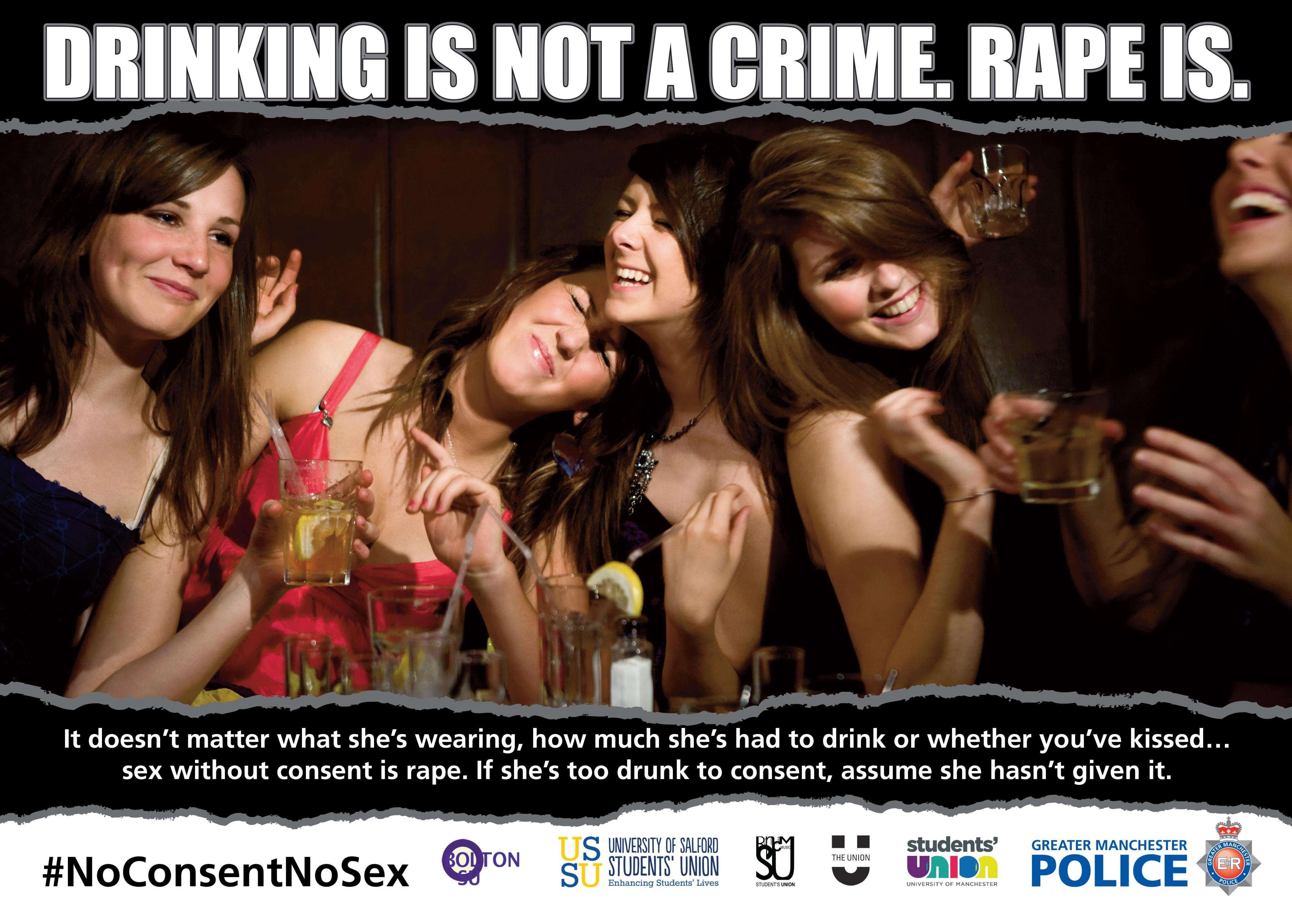 Campanha da polícia de Manchester enfatiza que beber não crime, mas estupro é (Foto: Polícia de Manchester) Foto: BBCBrasil.com