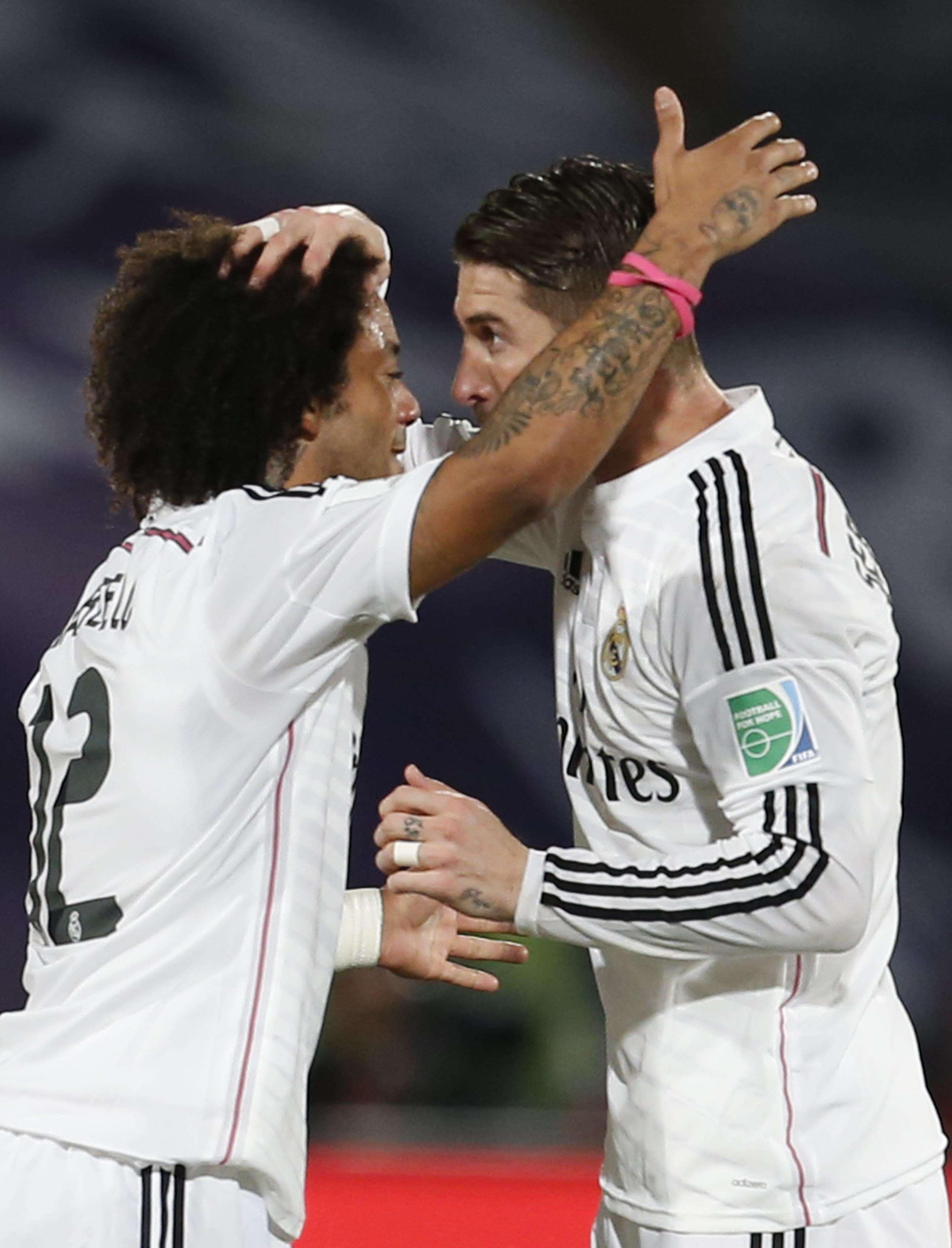Sérgio Ramos testou para o fundo das redes aos 35min do primeiro tempo Foto: Abdeljalli Bounhar/AP