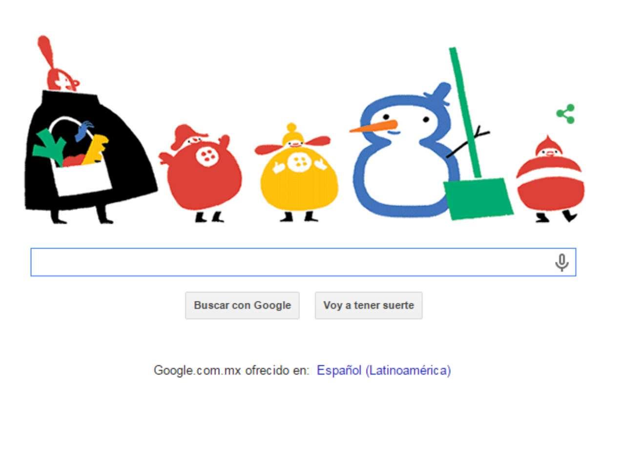 """El Doodle interactivo contiene colores y elementos navideños como un muñeco de nieve y un rechoncho Papá Noel o Santa Claus que ayuda a un par de niños, al acercar una pala removedora de nieve color verde y en forma de la letra 'ele' a formar la palabra Google. La escena concluye cuando la letra 'G"""" que toma la figura de regordeta de mujer que lleva una bolsa con vegetales, sede a los niños una zanahoria para que sea colocada en el rostro del muñeco de nieve para que sea su nariz y todos sonrien y festejan. Foto: Google"""