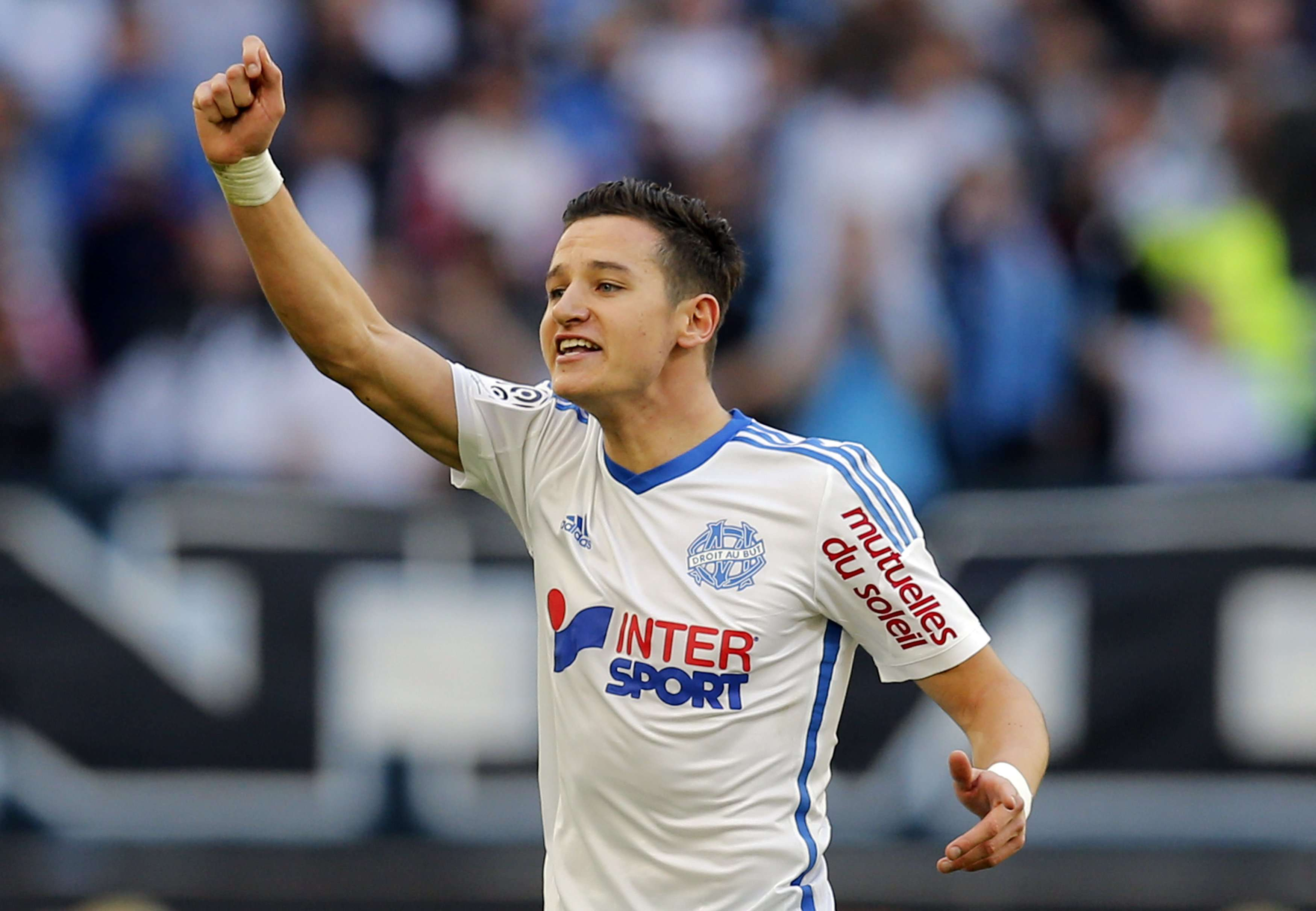 Olympique Marseille's Florian Thauvin celebrates after an own goal was scored during their French Ligue 1 soccer match against Lille at the Velodrome stadium in Marseille, December 21, 2014. REUTERS/Jean-Paul Pelissier (FRANCE - Tags: SPORT SOCCER) Foto: JEAN-PAUL PELISSIER/REUTERS