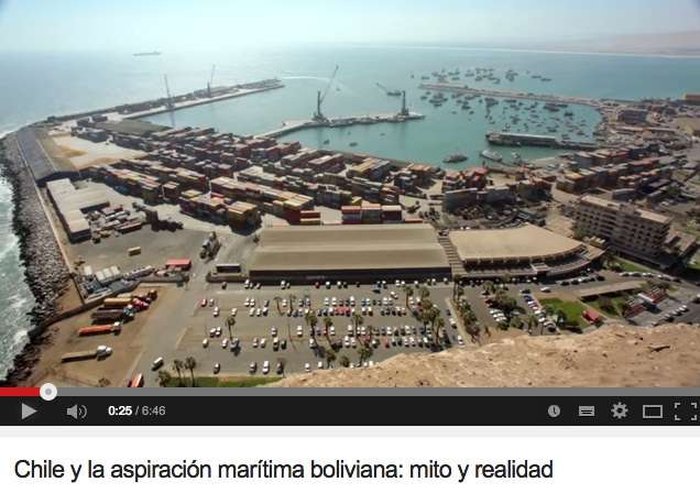 """""""Bolivia tiene acceso al mar"""", sostiene el Gobierno de Chile en un video lanzado el 22 de diciembre de 2014. Foto: Youtube/Ministerio de Exteriores Chile"""