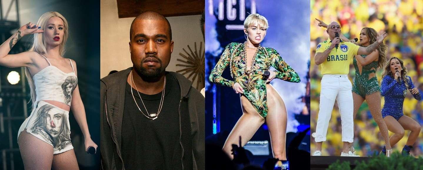Iggy Azalea, Kanye West e Miley Cyrus foram só alguns que protagonizaram momentos constrangedores em 2014 Foto: Getty Images