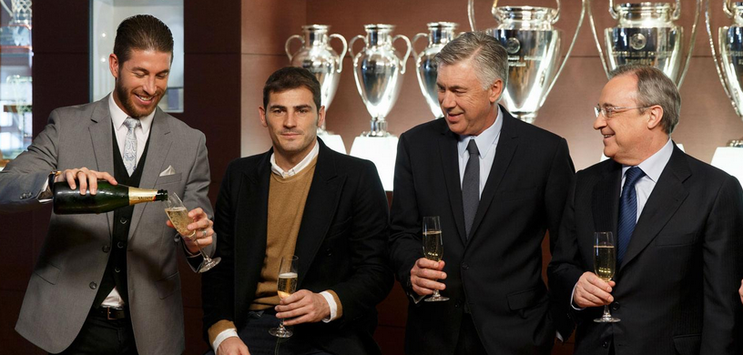 Sergio Ramos, Iker Casillas, Carlo Ancelotti and Florentino Pérez Foto: Ángel Martinez/Real Madrid