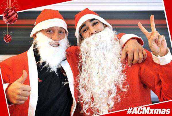 Philippe Mexès y Adil Rami se disfrazaron. Foto: Twitter AC Milan