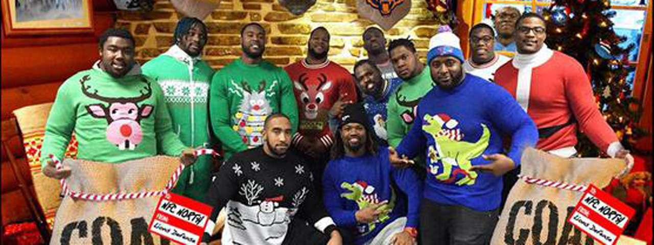 Los jugadores de los Leones de Detroit se unen a la Navidad. Foto: Twitter Detroit Lions