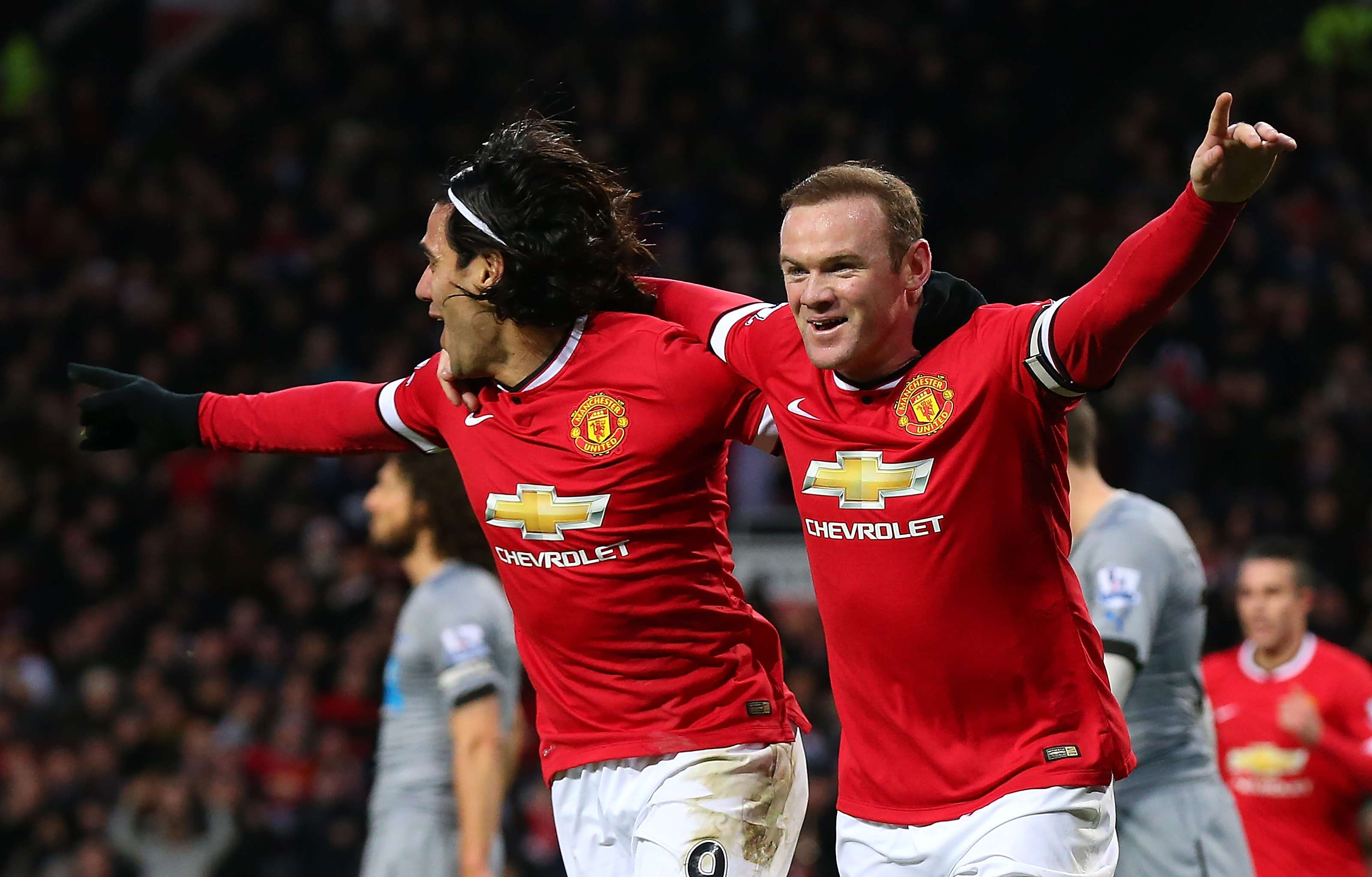 Rooney y Falcao festejan la victoria. Foto: Getty Images