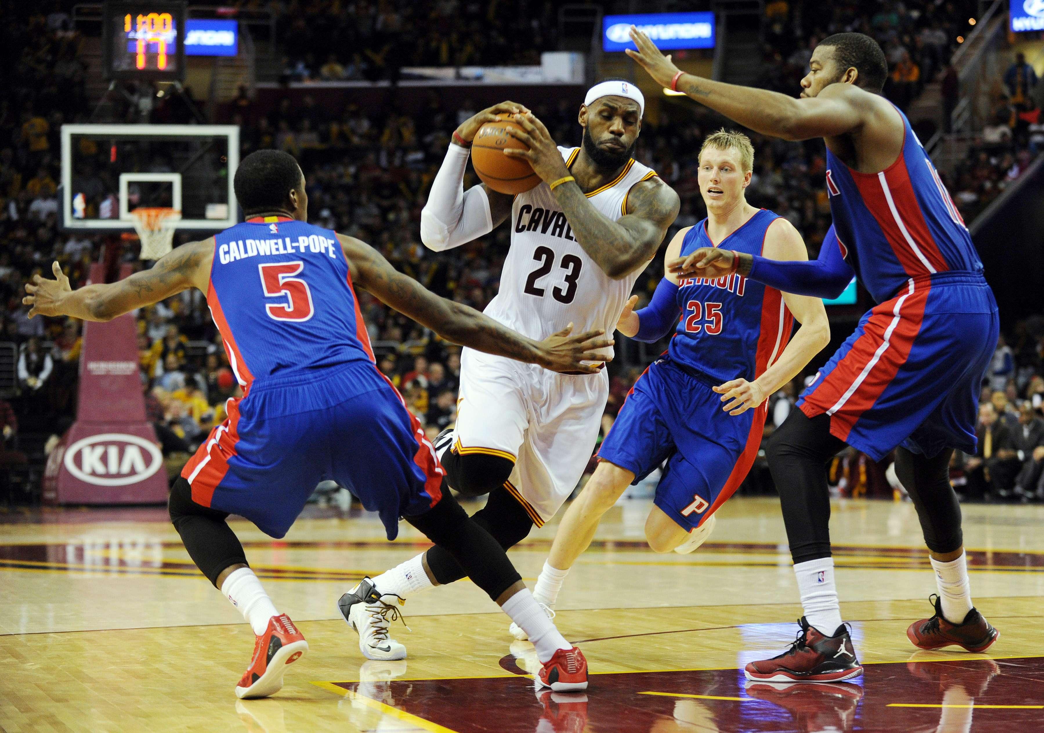 Lebron James teve dificuldades contra os Pistons Foto: Ken Blaze/USA TODAY Sports/Reuters