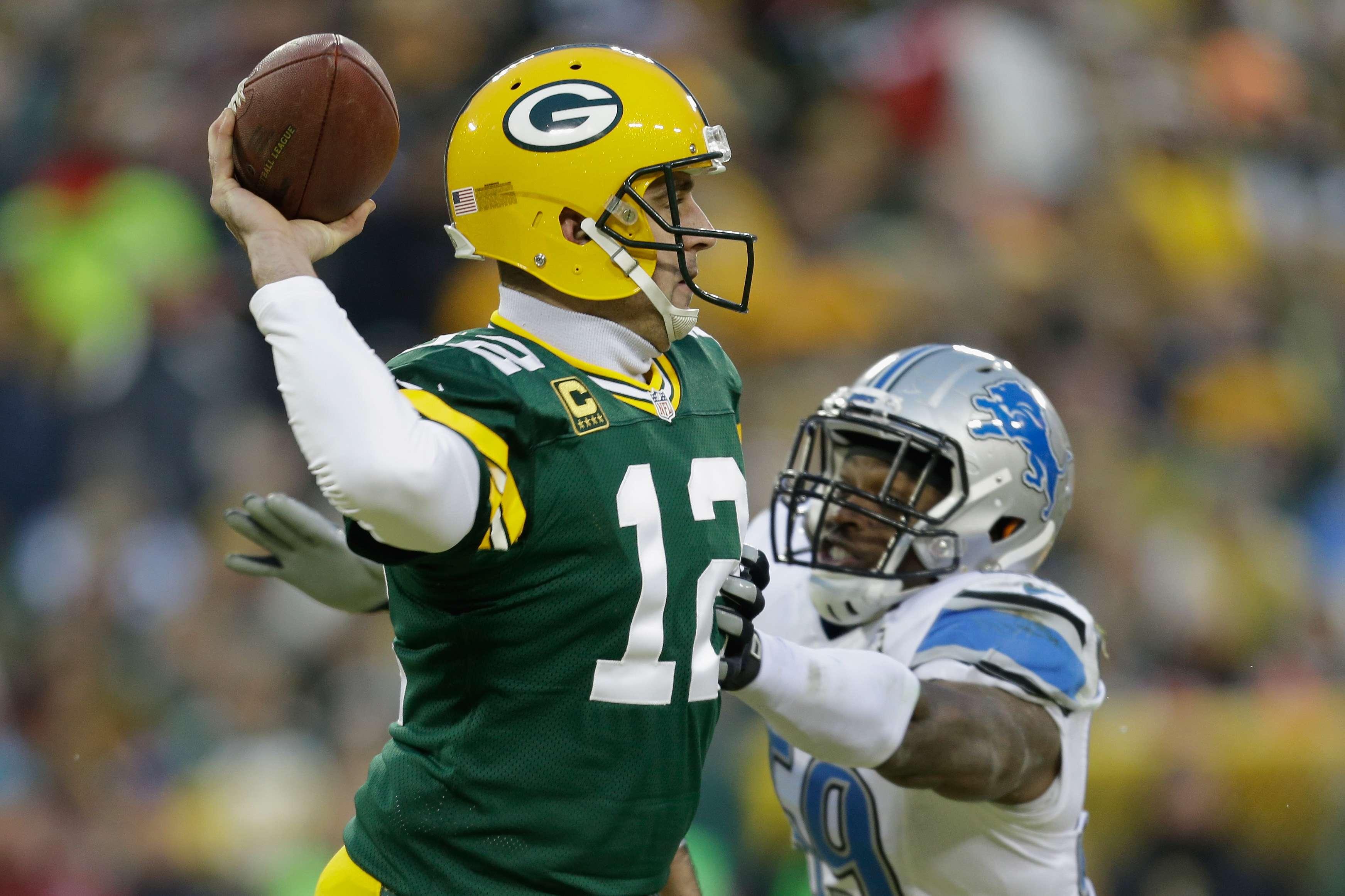 Packers se impuso 30-20 a Lions con una actuación heroica de Aaron Rodgers, quien regresó de una lesión para amarrar el título divisional de Green Bay. Foto: Getty Images