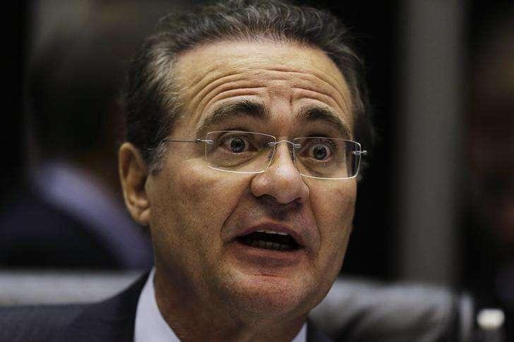 Presidente do Senado, Renan Calheiros (PMDB-AL), durante sessão no Congresso. 3/12/2014 Foto: Ueslei Marcelino/Reuters