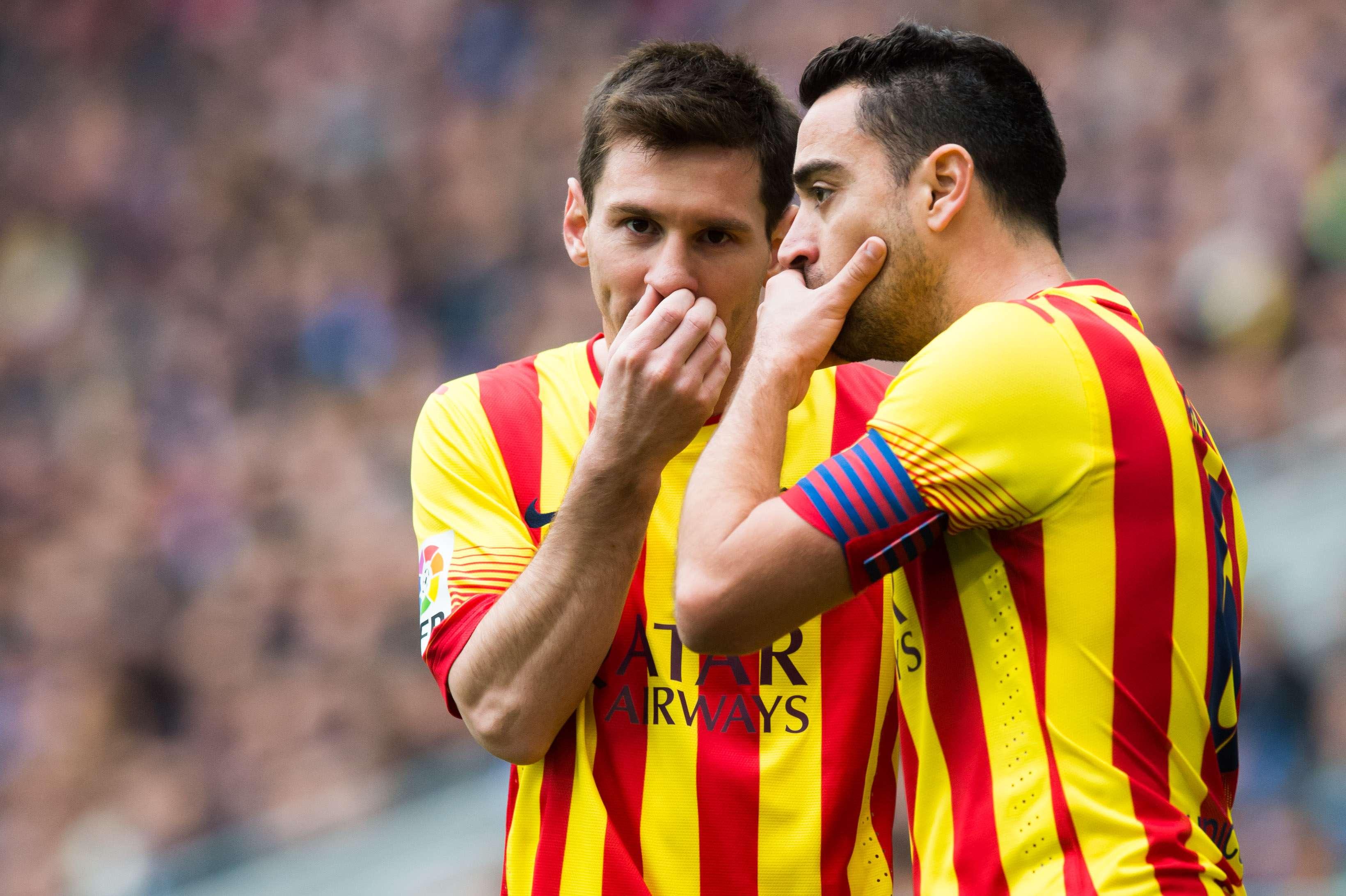 Messi e Xavi jogam há anos juntos no Barcelona; e entrosamento é total Foto: Alex Caparros/Getty Images