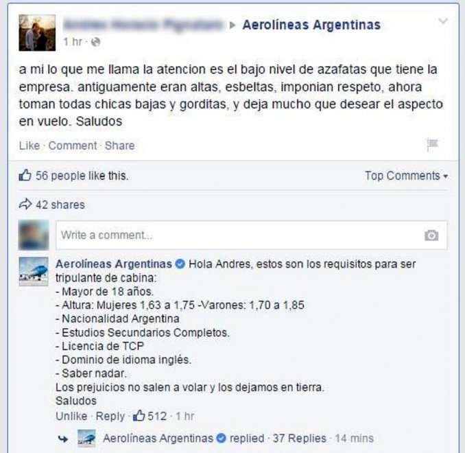 Foto: Aerolíneas Argentinas/Facebook