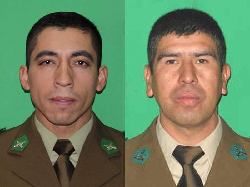 Cabo 1° Víctor Godoy y el Sargento 1° Germán Cid Conejeros, loscarabineros fallecidos. Foto: Gentileza Carabineros