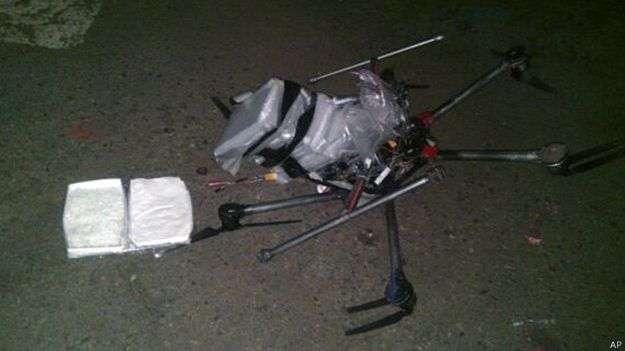 Esta semana, un dron con droga se accidentó en Tijuana. Foto: BBC Mundo/AP