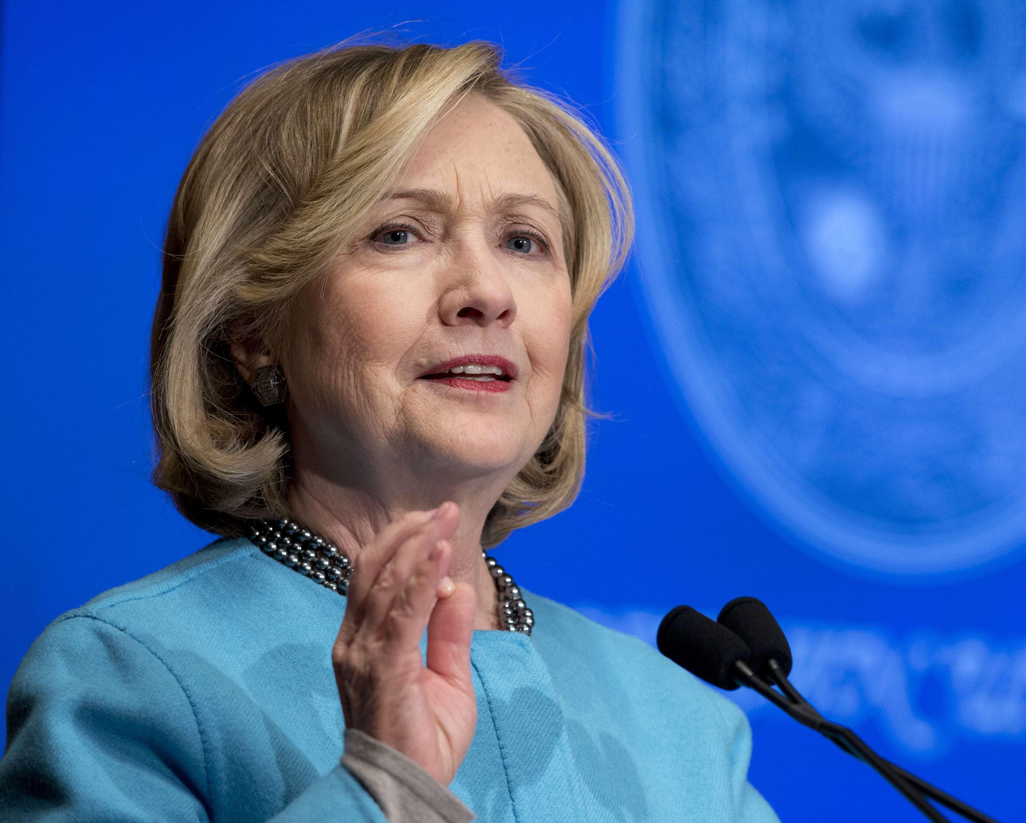 La ex secretaria de Estado Hillary R. Clinton en la Universidad de Georgetown, Washington, en foto de archivo del 3 de diciembre del 2014. Foto: AP en español