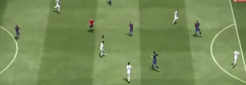 Real Madrid vs FC Barcelona, escena del partido en el FIFA 2015 Foto: YouTube